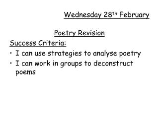 Wednesday 28th February