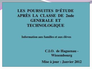 LES  POURSUITES  D  TUDE  APR S  LA  CLASSE  DE  2nde  GENERALE  ET  TECHNOLOGIQUE