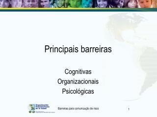 Principais barreiras