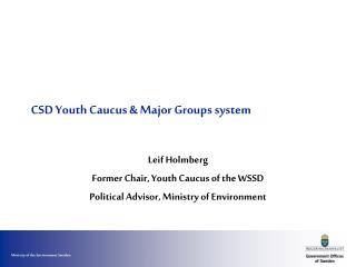 CSD Youth Caucus  Major Groups system