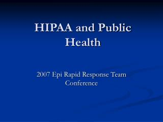 HIPAA and Public Health