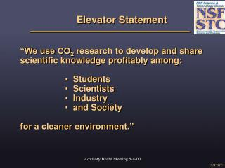Elevator Statement