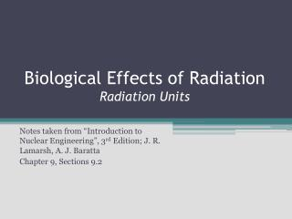 Biological Effects of Radiation Radiation Units