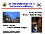 An Integrated Course in Mathematical Biology