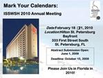 Mark Your Calendars: ISSWSH 2010 Annual Meeting