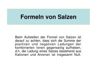 Formeln von Salzen