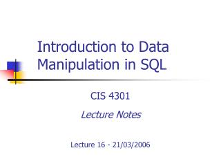 Introduction to Data Manipulation in SQL