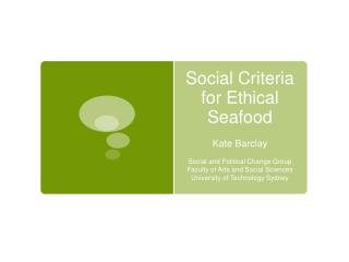 Social Criteria for Ethical Seafood