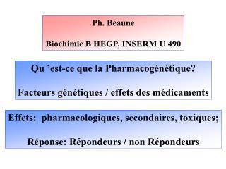 Ph. Beaune  Biochimie B HEGP, INSERM U 490