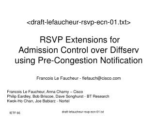 Draft-lefaucheur-rsvp-ecn-01.txt   RSVP Extensions for  Admission Control over Diffserv using Pre-Congestion Notificatio