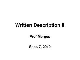 Written Description II