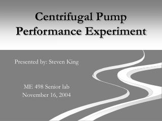Centrifugal Pump Performance Experiment