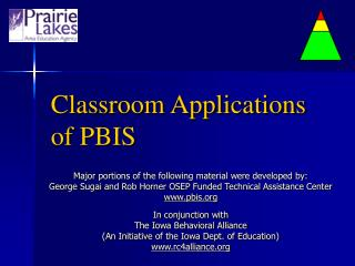 Classroom Applications of PBIS