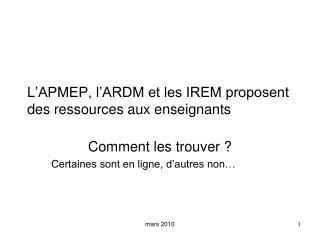 L APMEP, l ARDM et les IREM proposent des ressources aux enseignants