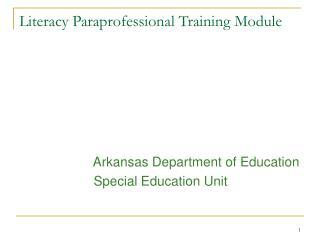 Literacy Paraprofessional Training Module