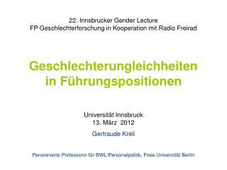 22. Innsbrucker Gender Lecture FP Geschlechterforschung in Kooperation mit Radio Freirad   Geschlechterungleichheiten  i