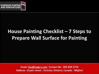 House Painting Checklist � 7 Steps to Prepare Wall Surface f