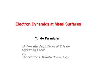 Electron Dynamics at Metal Surfaces