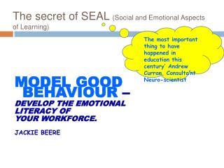 The secret of SEAL Social and Emotional Aspects of Learning