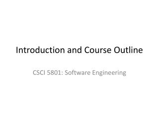 Introduction and Course Outline