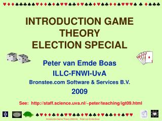 INTRODUCTION GAME THEORY  ELECTION SPECIAL
