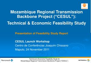 Mozambique Regional Transmission Backbone Project  CESUL :  Technical  Economic Feasibility Study