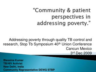 Community  patient perspectives in addressing poverty.