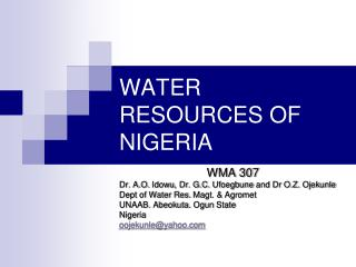 WATER RESOURCES OF NIGERIA