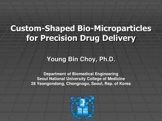 Custom-Shaped Bio-Microparticles for Precision Drug Delivery