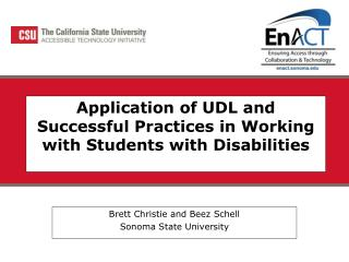 Application of UDL and Successful Practices in Working with Students with Disabilities