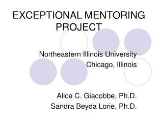 EXCEPTIONAL MENTORING PROJECT
