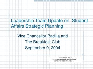 Leadership Team Update on  Student Affairs Strategic Planning