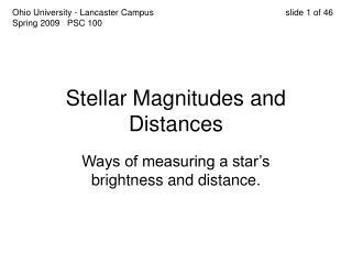 Stellar Magnitudes and Distances