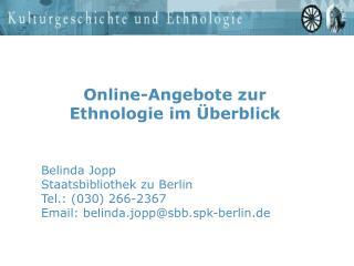 Online-Angebote zur Ethnologie im  berblick