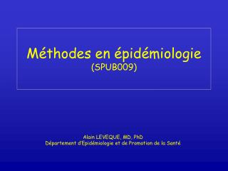 M thodes en  pid miologie SPUB009