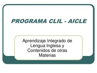 PROGRAMA CLIL - AICLE