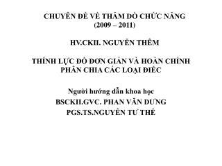 CHUY N   V THAM D  CHC NANG 2009   2011  HV.CKII. NGUYN TH M