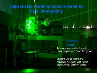 Transmission Grating Spectrometer for EUV Lithography