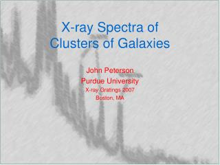 X-ray Spectra of Clusters of Galaxies