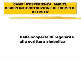 CAMPI D ESPERIENZA, AMBITI, DISCIPLINE:COSTRUZIONE DI ESEMPI DI ATTIVITA