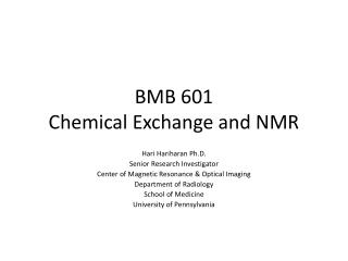 BMB 601 Chemical Exchange and NMR