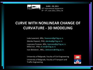 CURVE WITH NONLINEAR CHANGE OF CURVATURE - 3D MODELING