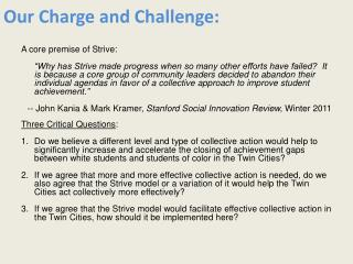Our Charge and Challenge: