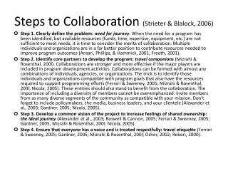 Steps to Collaboration Strieter  Blalock, 2006