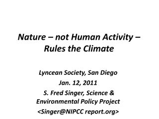 Nature   not Human Activity   Rules the Climate