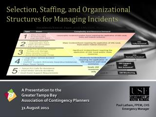 A Presentation to the Greater Tampa Bay Association of Contingency Planners  31 August 2011