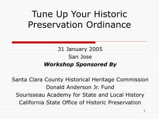 Tune Up Your Historic Preservation Ordinance