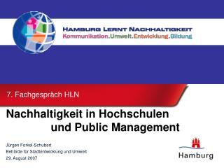 Nachhaltigkeit in Hochschulen    und Public Management