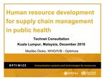 Human resource development for supply chain management in public health