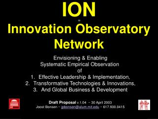 ION Innovation Observatory Network